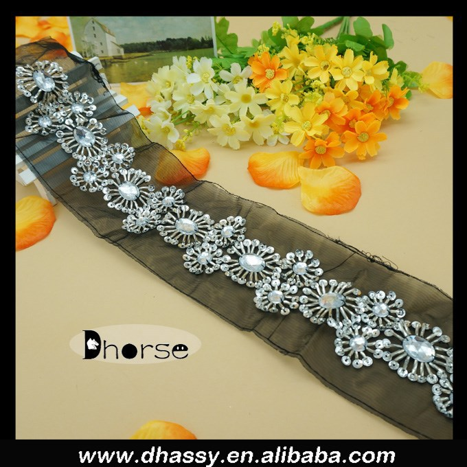 China supplier black mesh beaded silver timming lace for garment