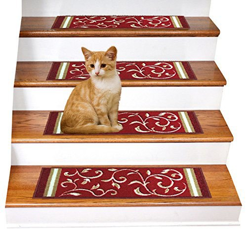 """Gloria Rug Skid-Resistant Indoor/Outdoor Rubber Backing Gripper Non-Slip Carpet Stair Treads-Machine Washable Stair Mat Area Rug (SET OF 7), 8.5"""" x 26"""", Red Floral Design"""