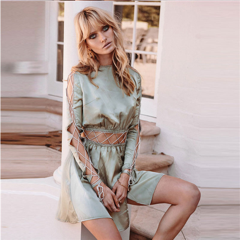 Autumn new design long bandage one piece set wrapped maxi dress