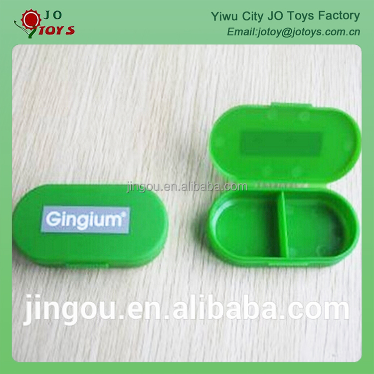 Promotional plastic oval shaped medicine storage pill box In 2 case