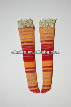 Orange Brown Stripes Socks Custom for Blythe/ Pullip/ Hujoo/ Lalaloopsy doll