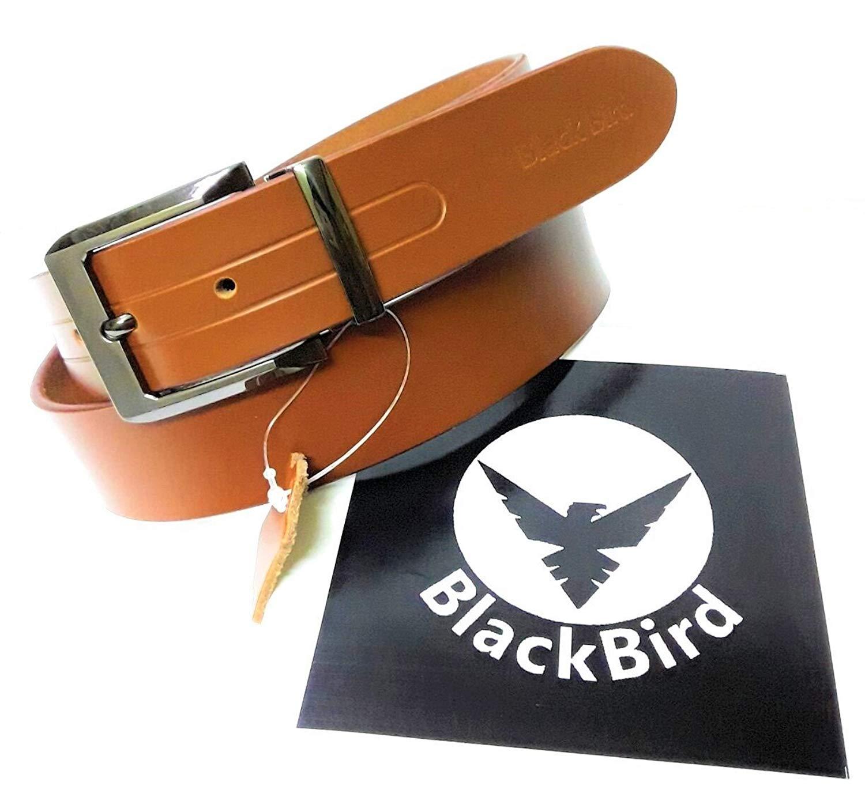 ANTIQUECOLLECTION Mens Belt Formal Italian Leather Belt Jean Belt Dark Brown