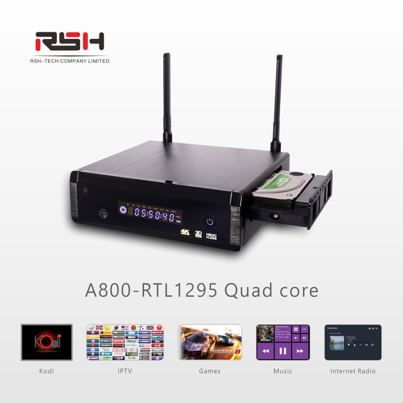 4K Android IPTV BOX Kodi 17.0+ OpenWRT(NAS) Realtek RTD1295 2G/16G Android 6.0 HDD Media player