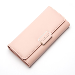 Korean women's wallet long section three fold wallet gary leather lady wallet