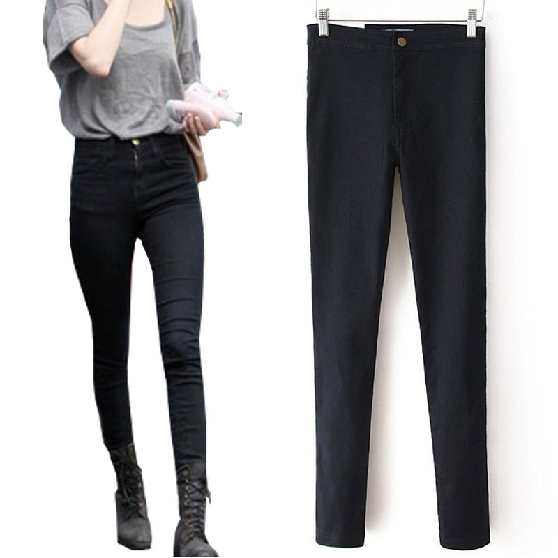43124ee3b40 Get Quotations · Women Pencil Pants High Waist Jeans Sexy Slim Elastic  Skinny Pants Fit Lady Jeans Plus Size