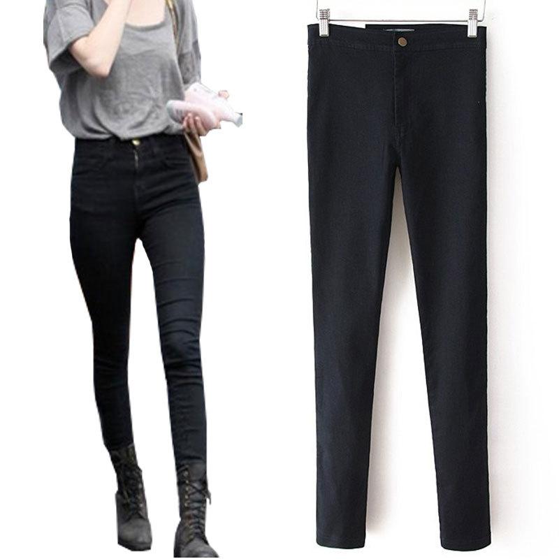 b1baca41966dd Get Quotations · Women Pencil Pants High Waist Jeans Sexy Slim Elastic  Skinny Pants Fit Lady Jeans Plus Size