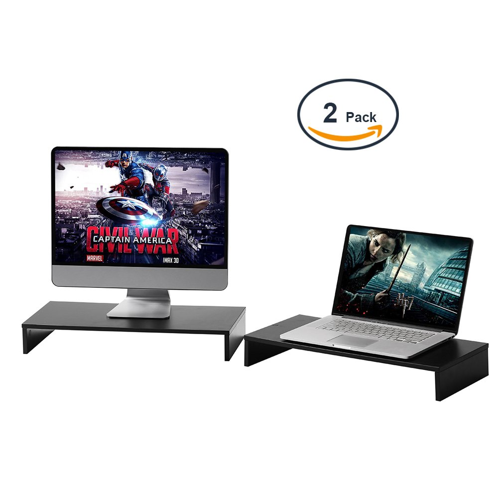 Rfiver Long Desktop TV Riser Computer Desk Monitor Stand Riser with Versatile Storage Organizer, One-Tier Black 21.3 x 10 inch-2 Pack CM1008