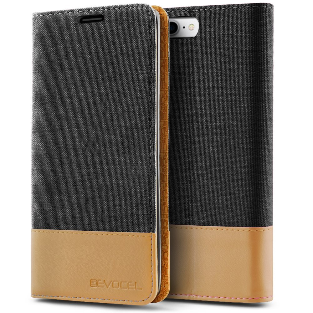 iPhone 7 Plus Case, Evocel [The Folio Series] 2-Tone Stylish Folio Case [Flip][Easy-Open] Seamless Magnetic Closure [Textured][Kickstand] Prop-Up Feature For iPhone 7 Plus (5.5 inch), Black