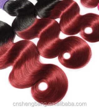 "body wave ombre color hair T1b/red # 16"" brazilian hair weave 3pcs + closure 1pcs"