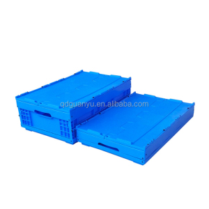 Food grade Plastic Foldable Crate with Attached Lid for Wholesale