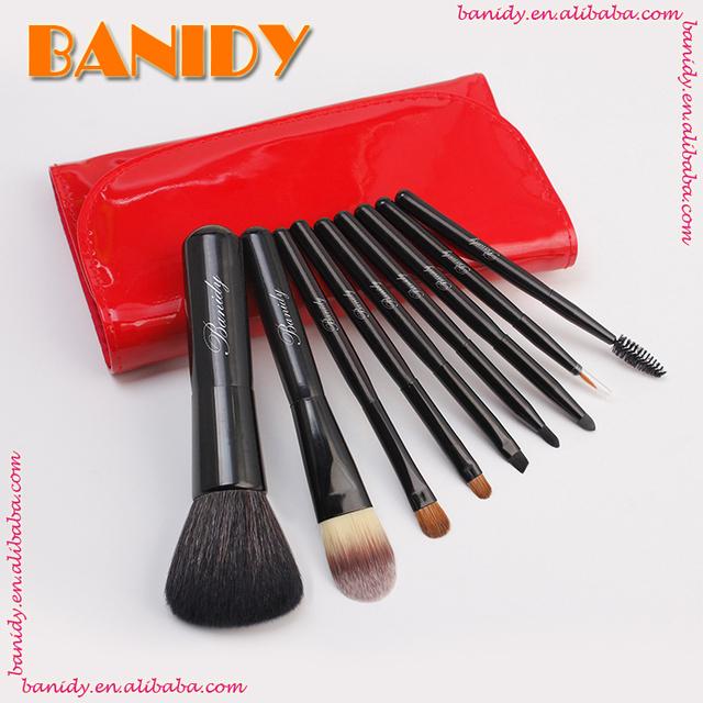 Goat Hair Professional mini travel carry make up brushes set 8pcs facial makeup brush set alli baba com