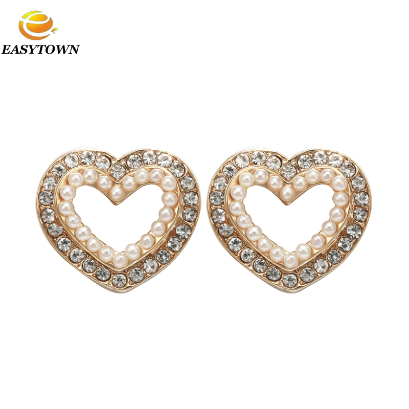 New 2016 latest heart design gold plated earring designs women jewelry