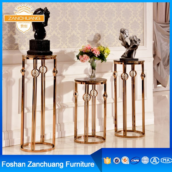 Gold round stainless Steel wedding aisle flower stands for wedding