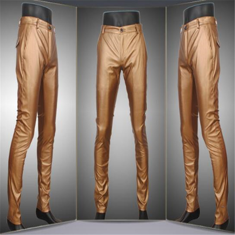 Fashion men slim sexy stretchy casual straight motorcycle business PU leather biker trousers pants