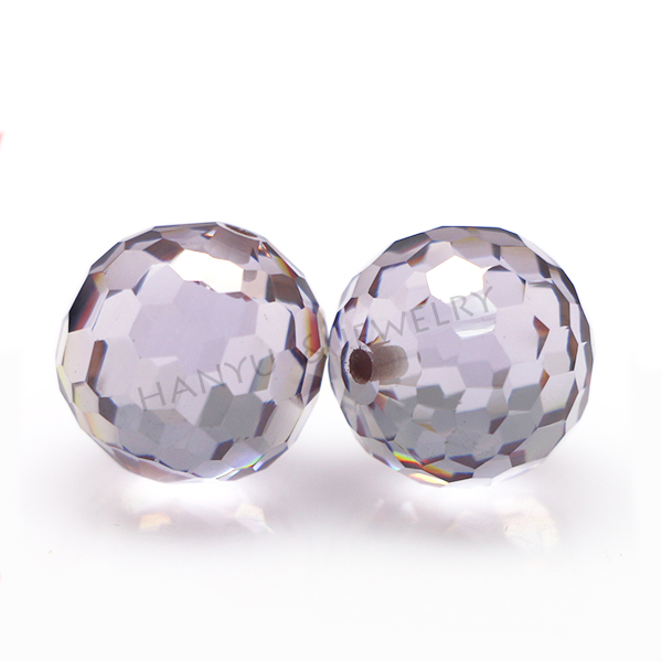 Gemstone Ball with Hole for Necklace Faceted CZ Round White CZ Ball Synthetic diamond
