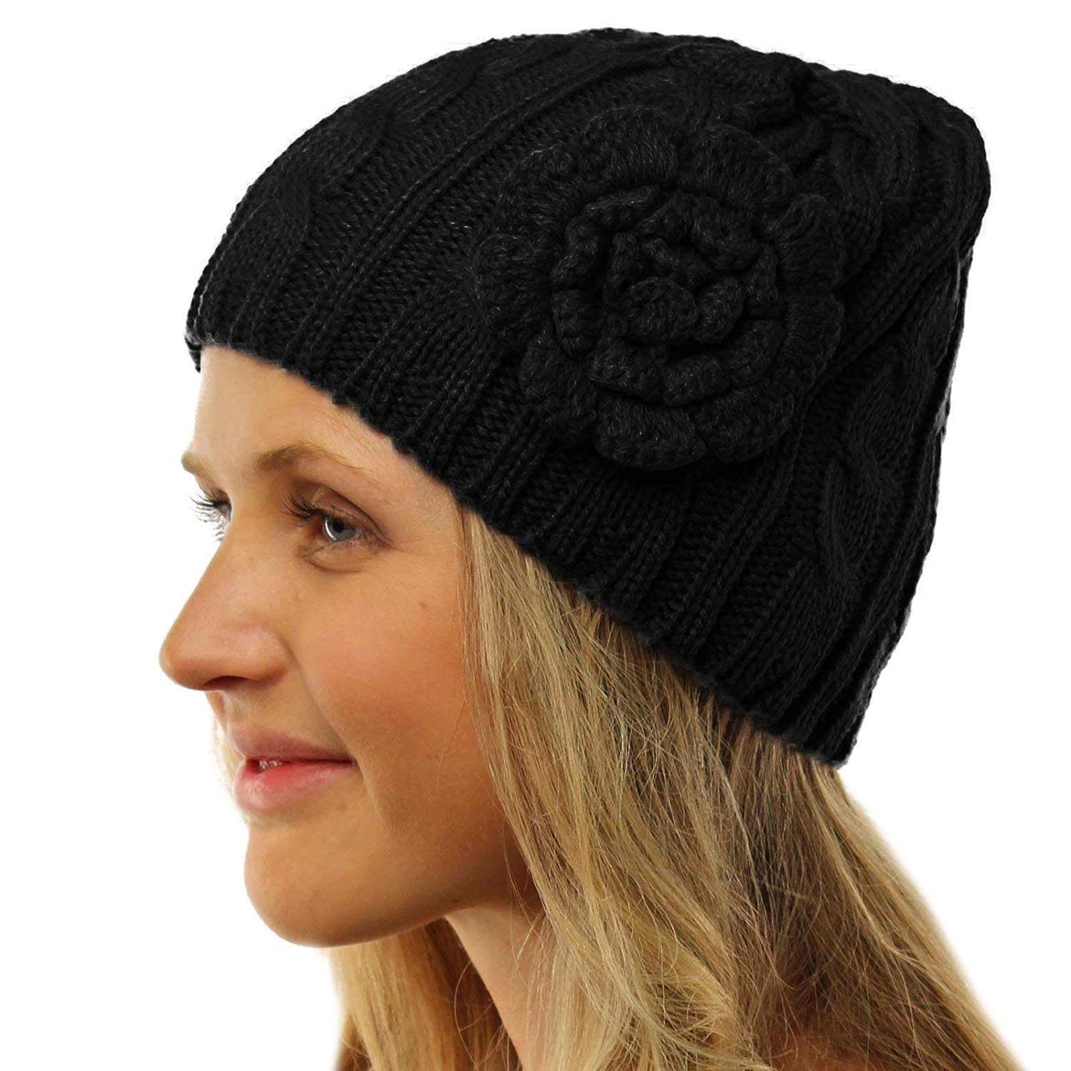 SK Hat shop Ladies Winter Floral Crochet Soft Stretchy Cable Knit Skull Beanie Hat Cap
