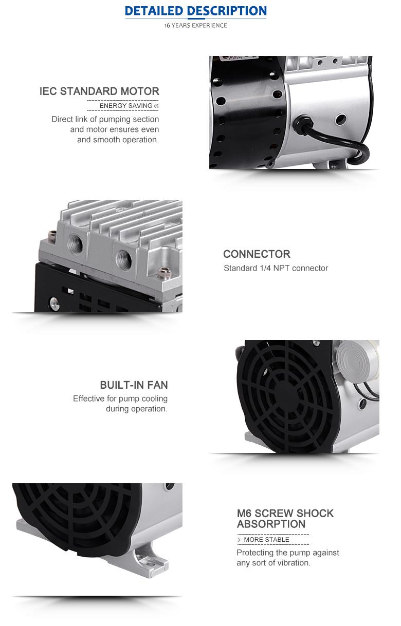 63 dB Sound single stage rotary vane vacuum pump