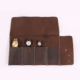 hand crafted brown portable leather watch roll travel pouch for men