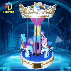 Amusement Park Equipment Kids Carousel Ride Carousel Horses 3 Seats Mini Carousel For Sale