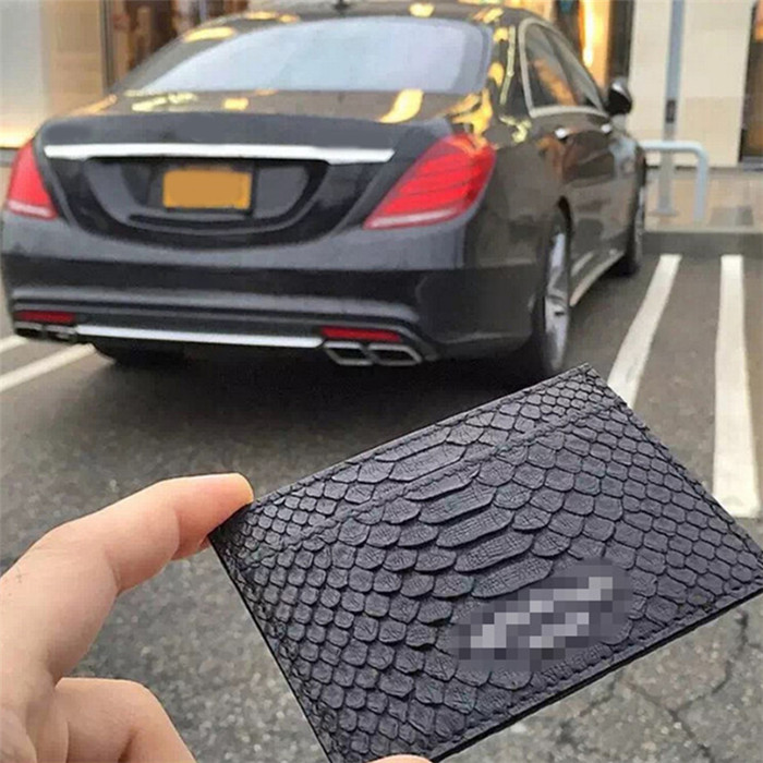 Luxury fashion 100% real python leather credit card case/double sided business card holder