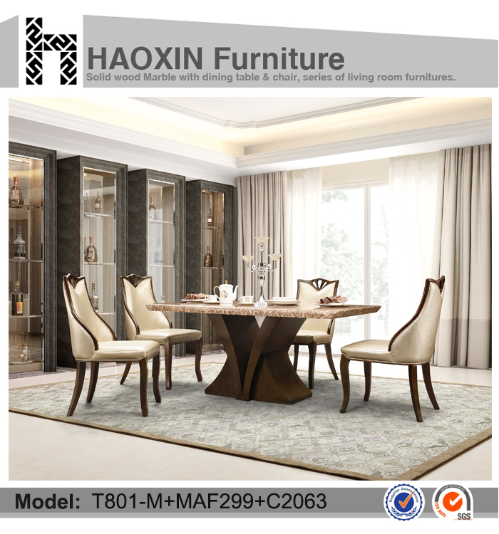 Attractive Noble6 Seater Marble Top Wooden Base Dining Table And Dining Chair  T801 M+MAF299