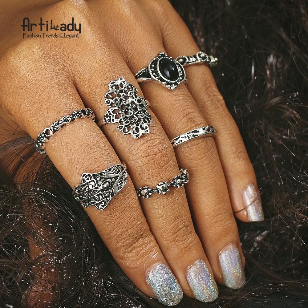 693fbdd9fd0b Artilady Europa y los Estados Unidos 7 sets palmas retro negro joya tallada  hueco nudillo anillos de la joyería para la venta
