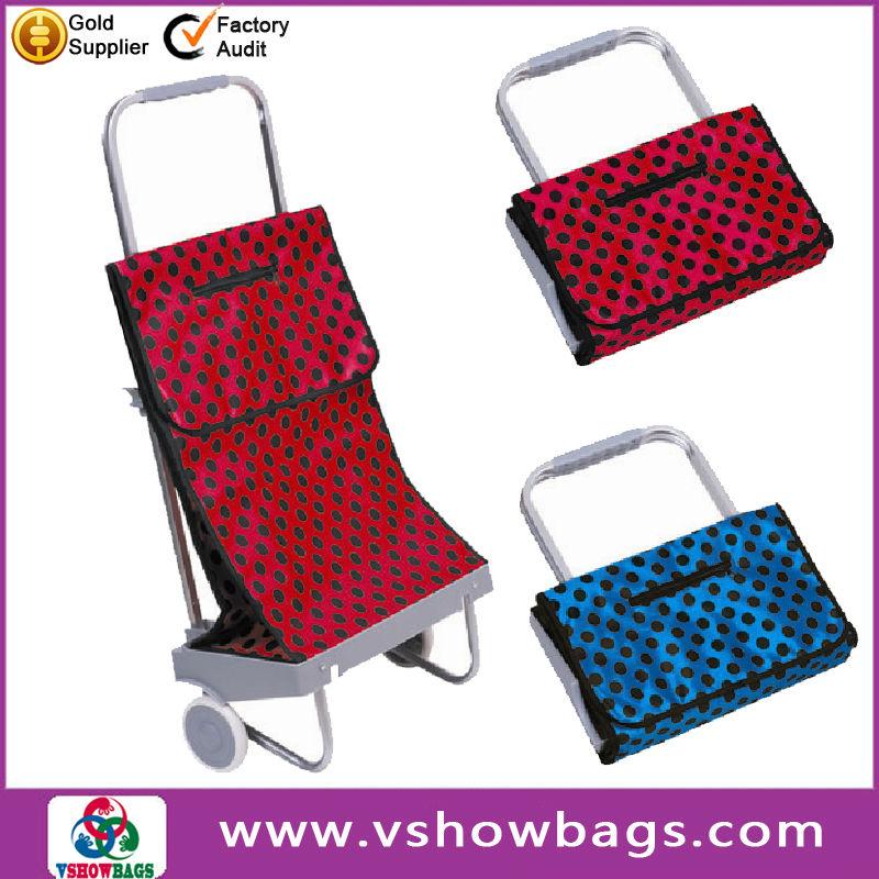 bcf2e545801b saco portátil dobrável de compras carrinho com rodas, poliéster dobrável  saco de compras carrinho,