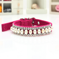 pearl dog pet necklace pendent crystal rhinestone pet collar