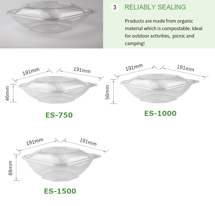 Easy Green 32oz Biodegradable Diamond Shape Compostable PLA Raw Material transparent Clear Plastic Salad Bowl