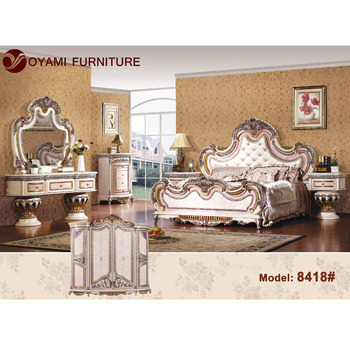 Classic Design Wooden Royal Furniture Bedroom Sets Italian Bedroom Set