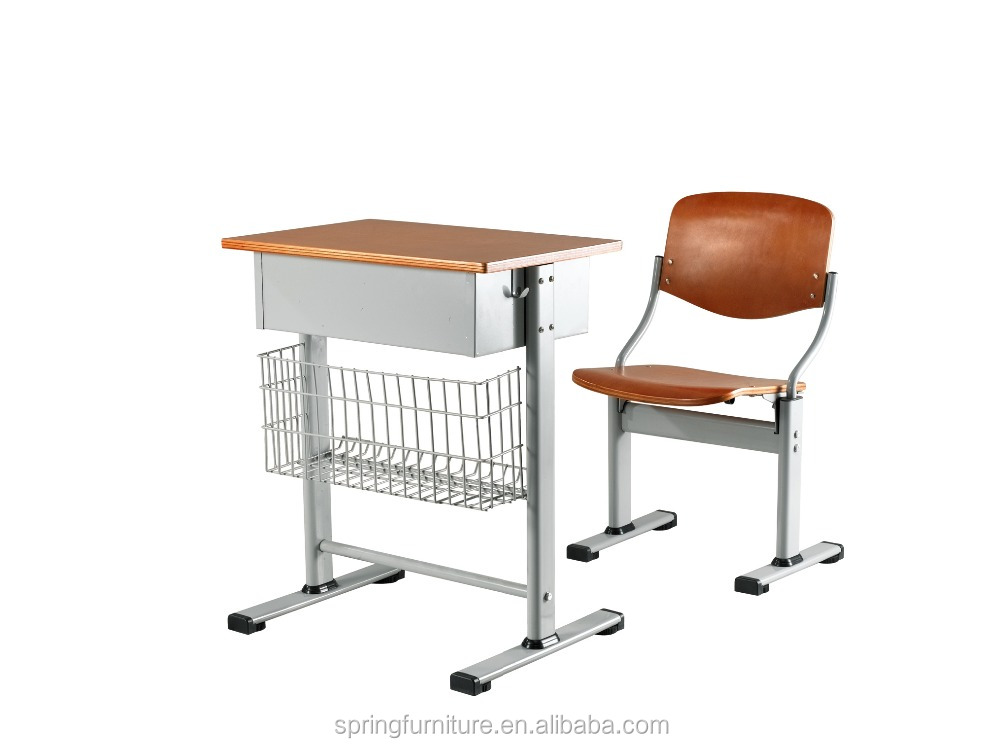 Durable adjustable school furniture attached school table with chair CT-303