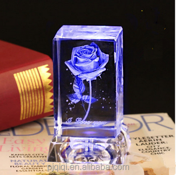 3d Laser Etched Crystal Cube Rose with LED Crystal Base for Wedding Gift