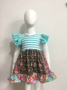 2017 flower stripe summer girl frocks designs best selling wholesale children 's boutique clothing set cute baby clothes