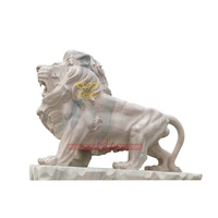 Wholesale Marble Yellow Stone Life Size Lion With Wings Statue