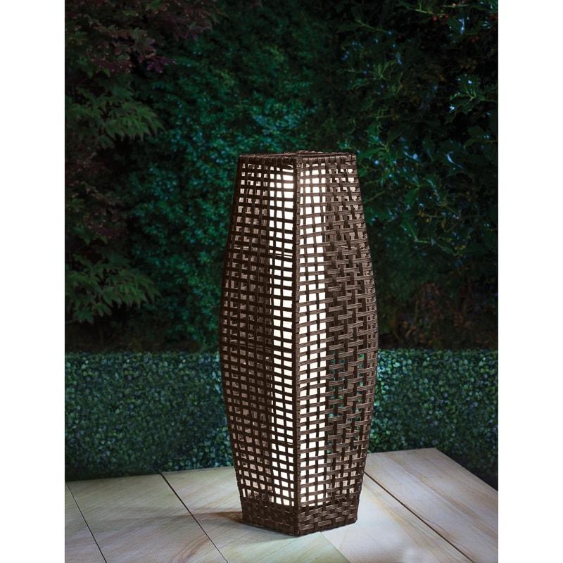 Outdoor Rattan And Metal Solar Lantern Garden Floor Lamp