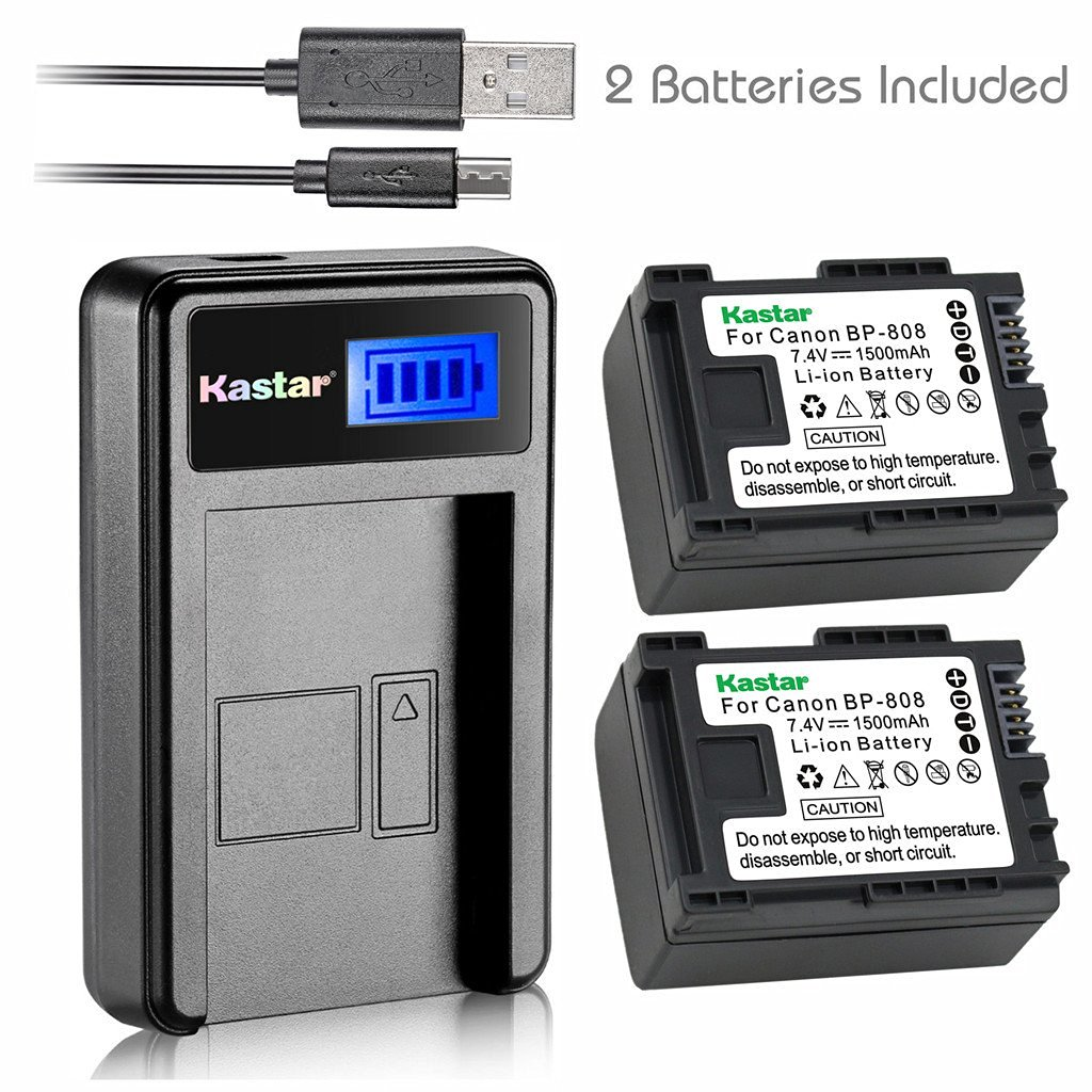 Compatible with Canon BP-808 Digital Camcorder Batteries and Chargers Decoded 890mAh 7.4V Lithium-Ion Replacement for Canon VIXIA HF M40 Battery and Charger with Car Plug and EU Adapter