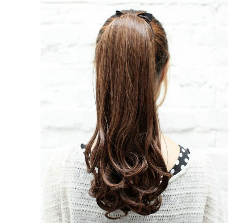 Buy Free Shipping Synthetic Hair Lady Wowen Long Wavy Ponytail Pony Tail  Hair Black / Dark Brown /Light Brown In Cheap Price On M.alibaba.com
