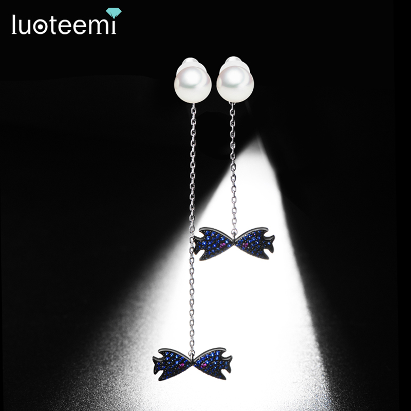 LUOTEEMI Girls Gift Cubic Zirconia Imitation Pearl With Lovely Kiss Fish Dangle Drop Costume Earring