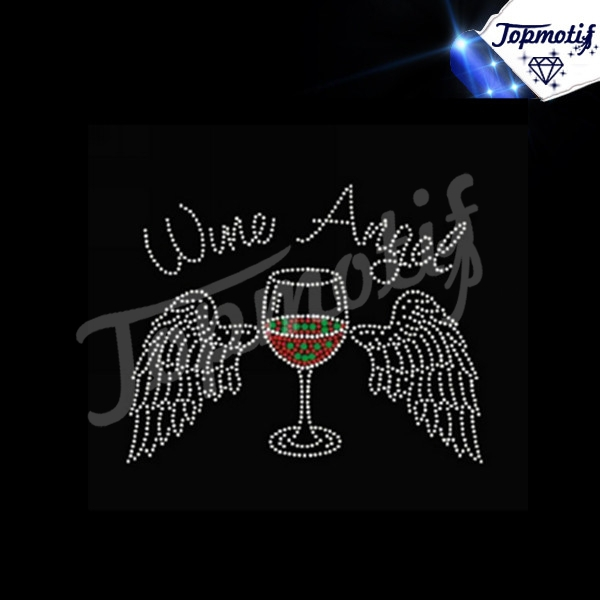 Custom Wine Angle iron on rhinestone transfer designs