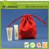 OEM luxury red jewelry pouch satin bag with logo printing with drawstring