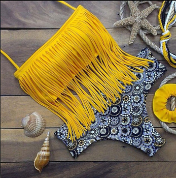 Ht Wb Sexy Swimsuit Women Swimwear Tassle Bikini Crochet Bathing