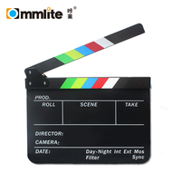 Commlite Acrylic Plastic Dry Erase Director's Film Movie Clapboard Cut Action Scene Clapper Board Slate With Colorful Sticks