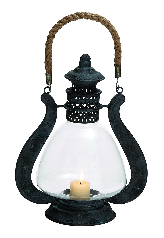 Benzara 93997 Contemporary Styled Metal Glass Jute Lantern