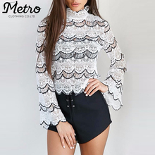 Women White And Black Bell Sleeves Crochet Crop Top
