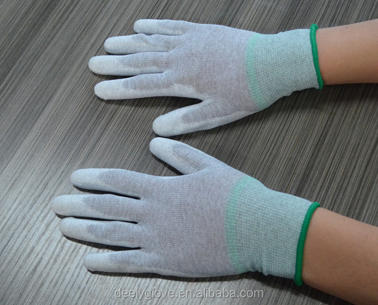 Carbon Fiber ESD/Anti-Static Gloves PU Fingertip Coated Non-slip Wearable Gloves Safety Working Gloves