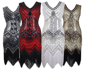 Ecowalson Flapper Dress Retro Inspired Sequined Beaded Embellished Fringed Tassel Gatsby Dress