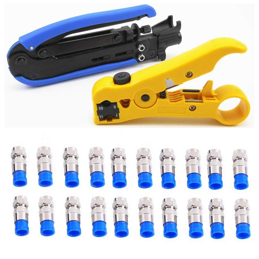 Yankok Coaxial Cable Crimper Wire Stripper Cutter with 20 Pcs F Connector Kit For RG59 RG11 RG7 RG6 75-5 75-7 4P 6P 8P UTP STP Round & Flat Network Cable 3.2-9.0mm Multi-transmission Cable