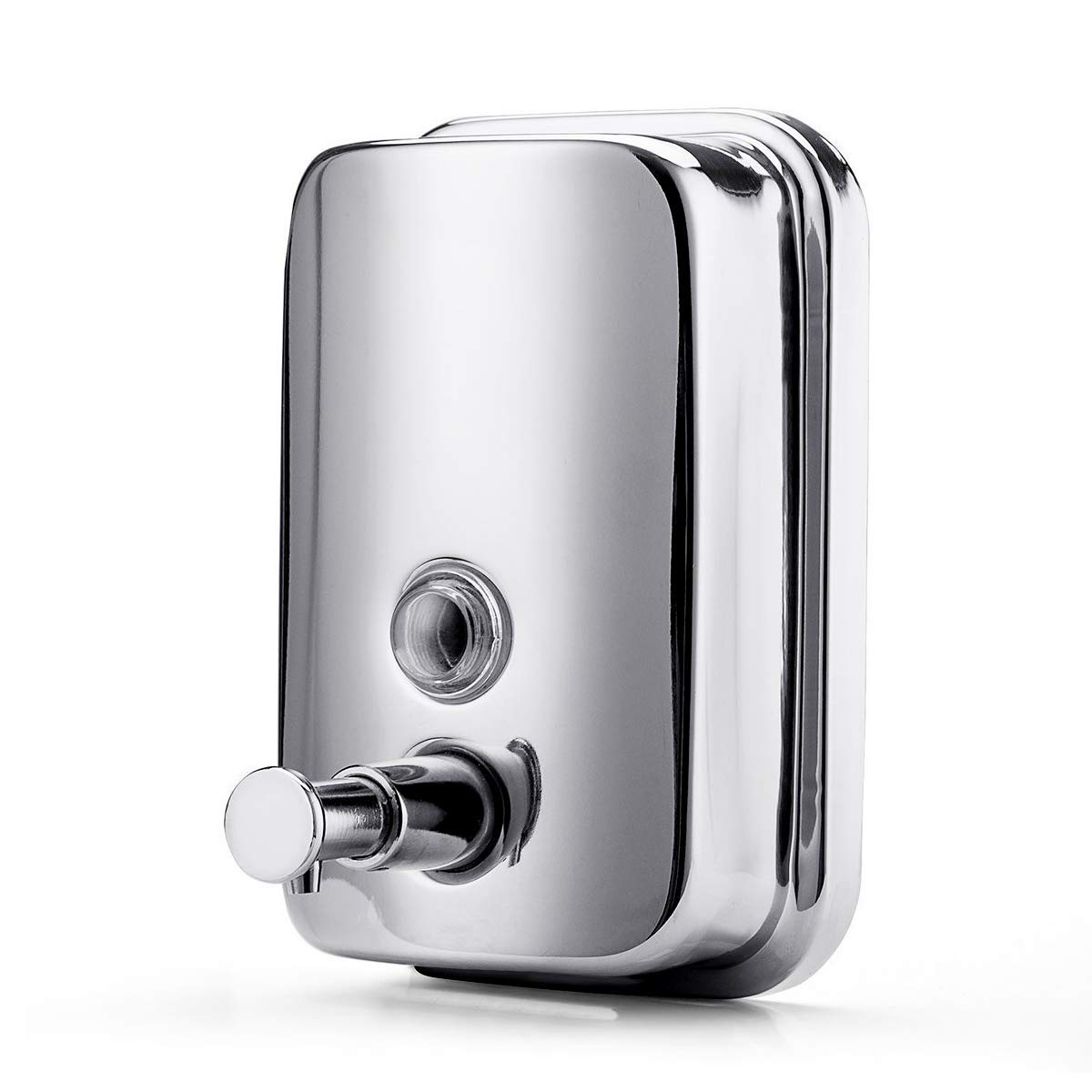 BravoTeam Soap Dispenser Stainless Steel Wall Mount Soap Dispenser Manual Liquid Soap Dispenser 18oz/500ml Soap Shampoo Liquid Container for Bathroom or Kitchen with Three Years Warranty