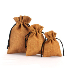 Wholesale price customized bulk small burlap drawstring bags with handles