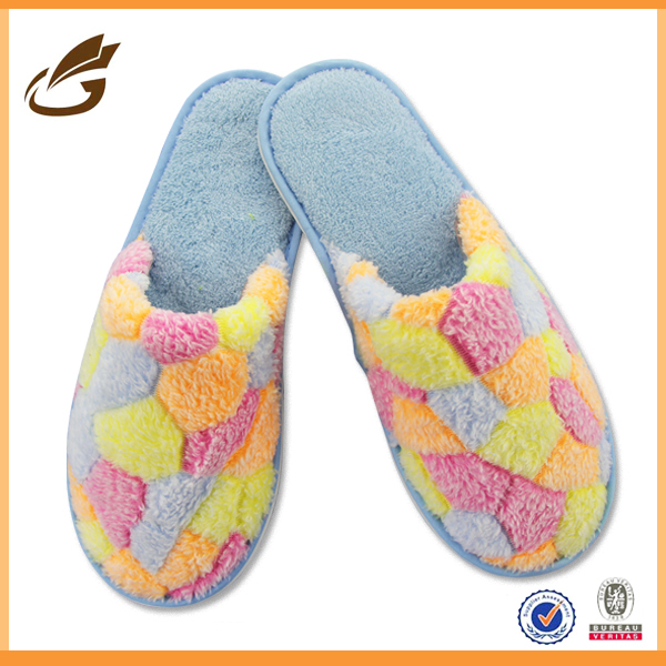 sweet embroidery plush closed toe indoor lady slipper